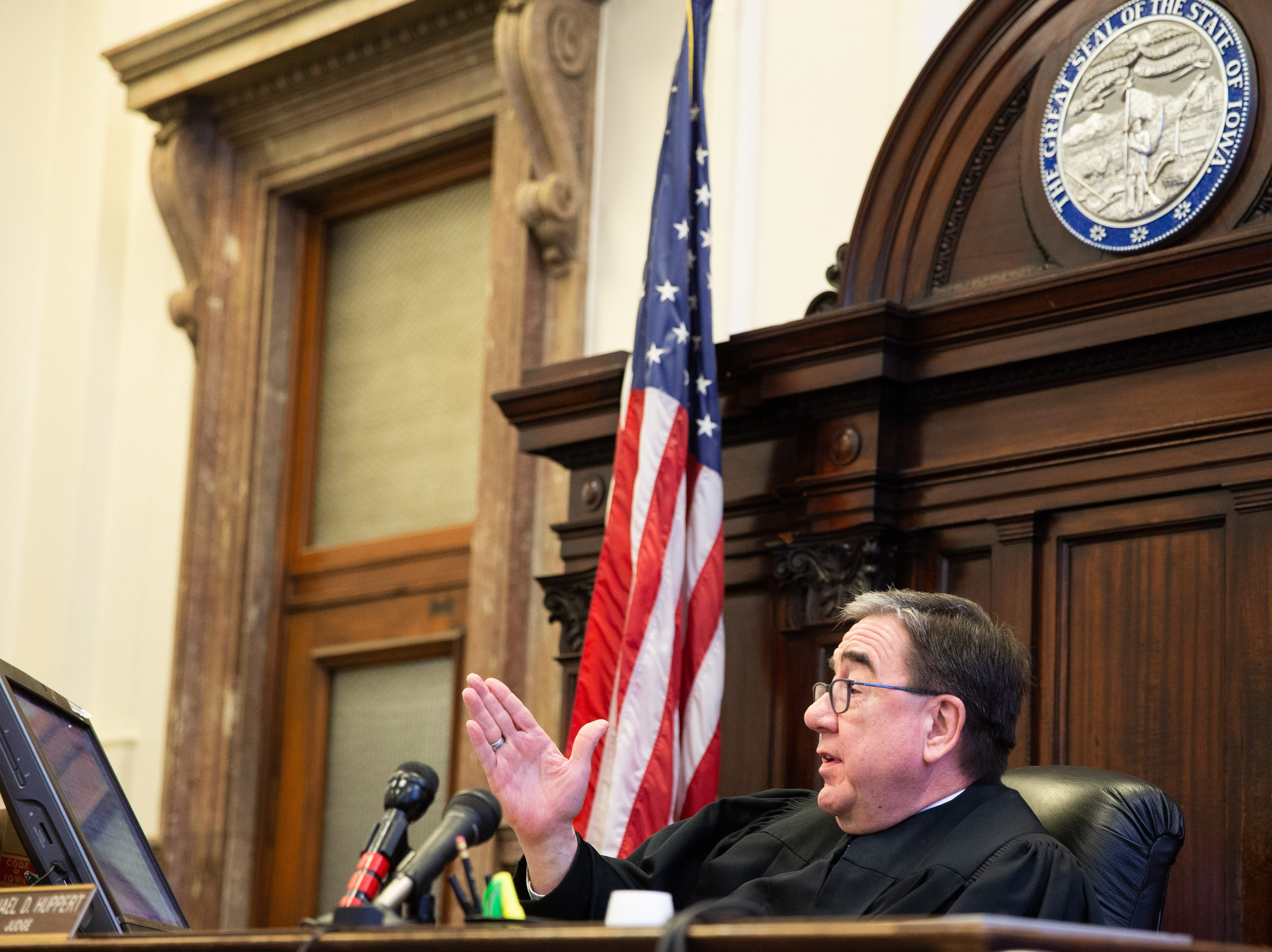 Polk County Judge Michael Huppert presides over a legal challenge to Iowa's fetal heartbeat law in state court Friday, Dec. 7, 2018.
