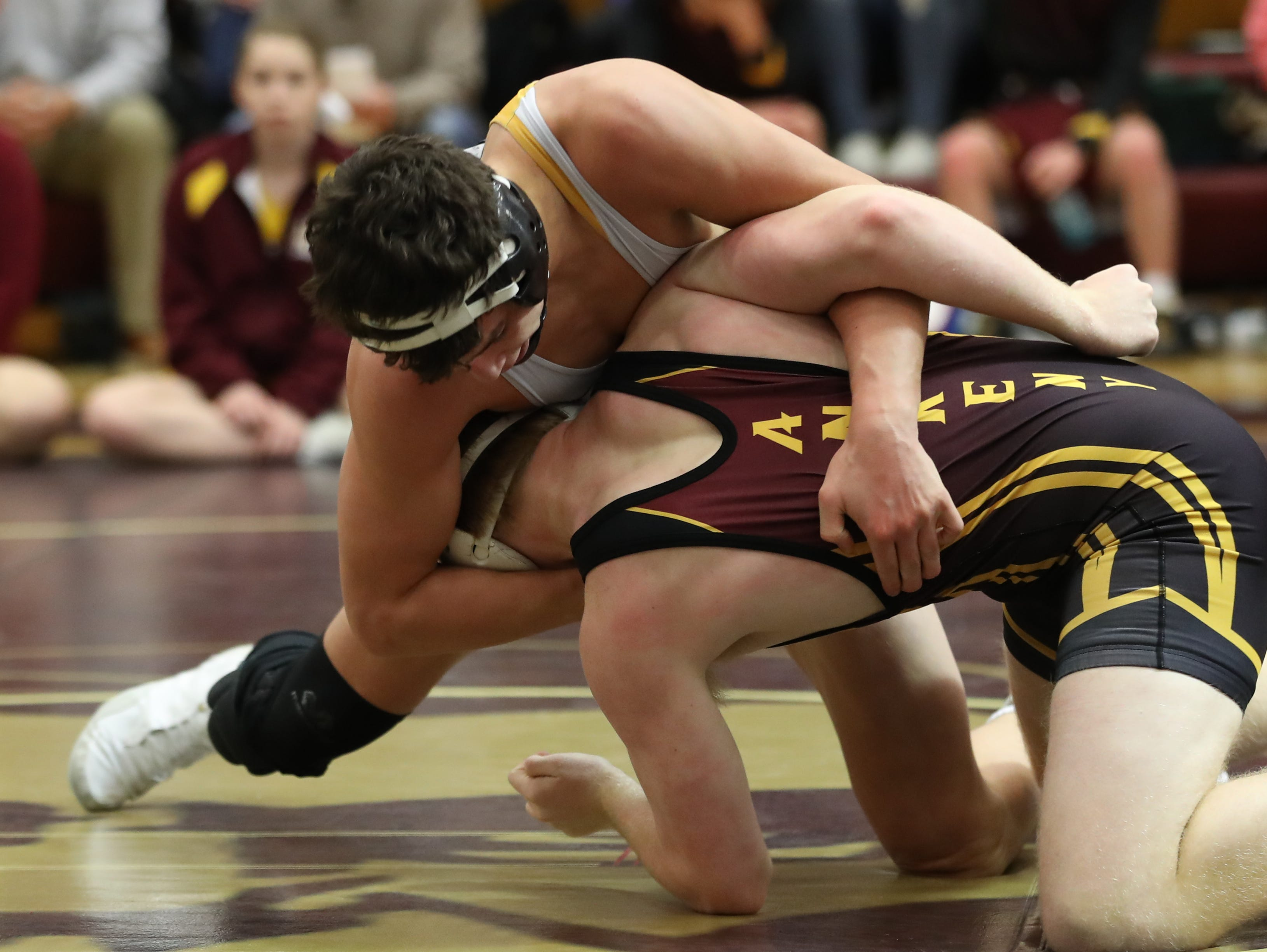 Dec. 4, 2018; Des Moines, IA  USA; Cade DeVos (Southeast Polk) over Caleb Goldner (Ankeny) (Fall 1:32) at Des Moines Lincoln High School. The Rams beat the Hawks 54-14.