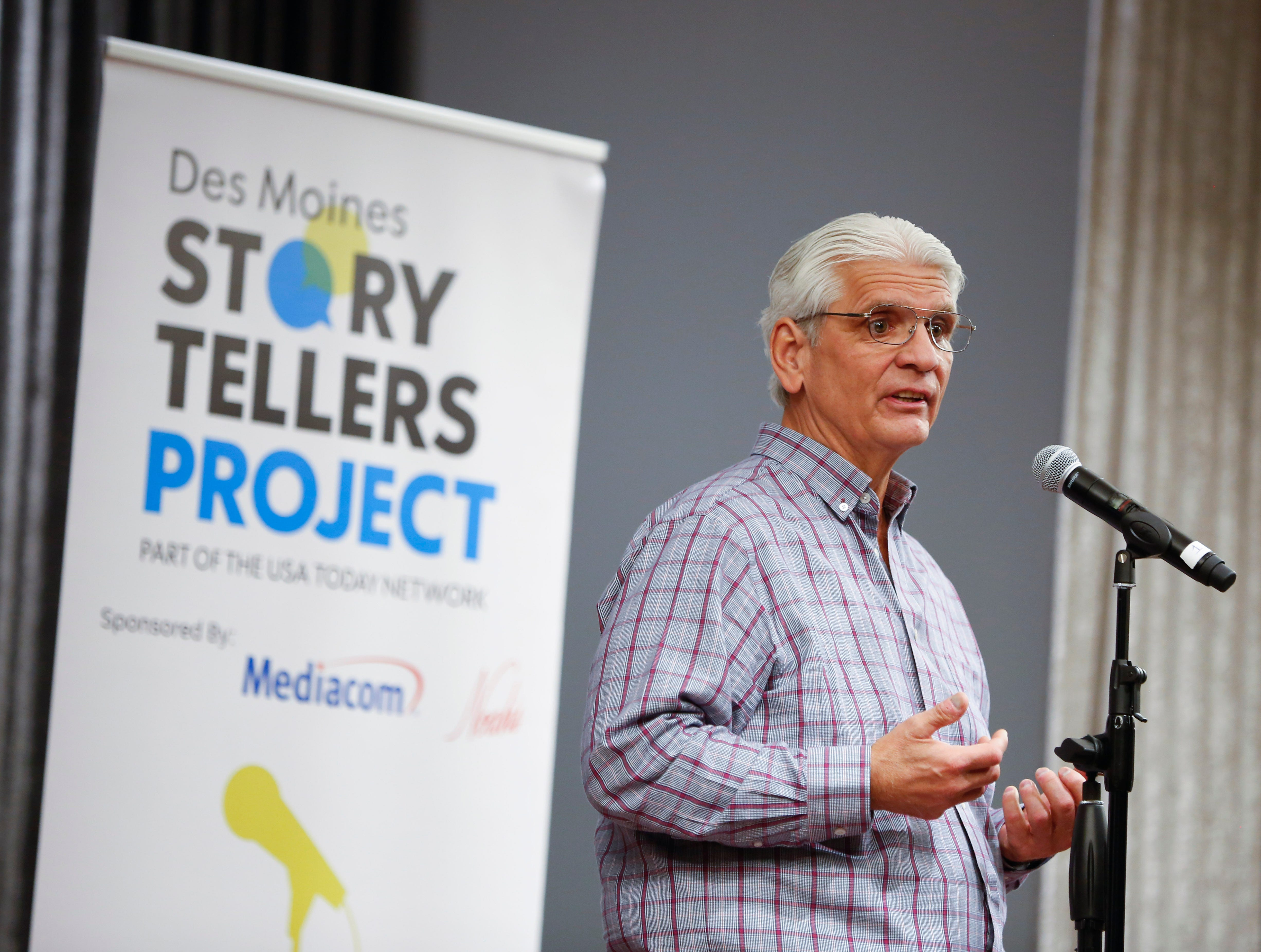 "Larry Wohlgemuth speaks at the Des Moines Storytellers' ""War Stories: Battles on the frontline and back home"" at the Tea Room Thursday, Dec. 6, 2018."