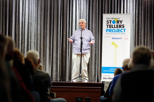 "Larry Wohlgemuth speaks at the Des Moines Storytellers' ""War Stories: Battles on the frontline and back home"" at the Tea Room in Des Moines on Thursday, Dec. 6, 2018."