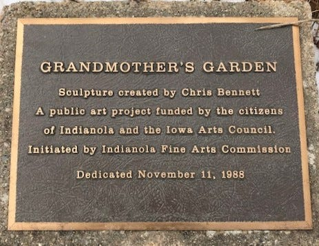 A Grandmother's Garden, created by Chris Bennett, was dedicated at the Warren County Courthouse in 1988.