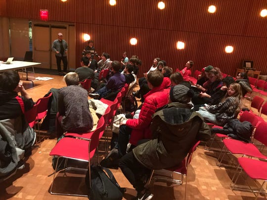 About 25 of the reported 50 union members who attended Friday's vote to strike at the Joe Rosenfield Center on Grinnell College's campus discuss the union's next plans.