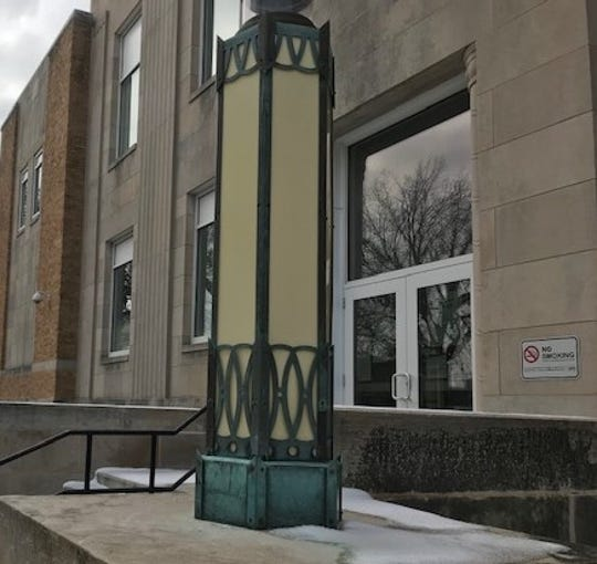 One of the two light poles saved from the Warren County Courthouse demolition.