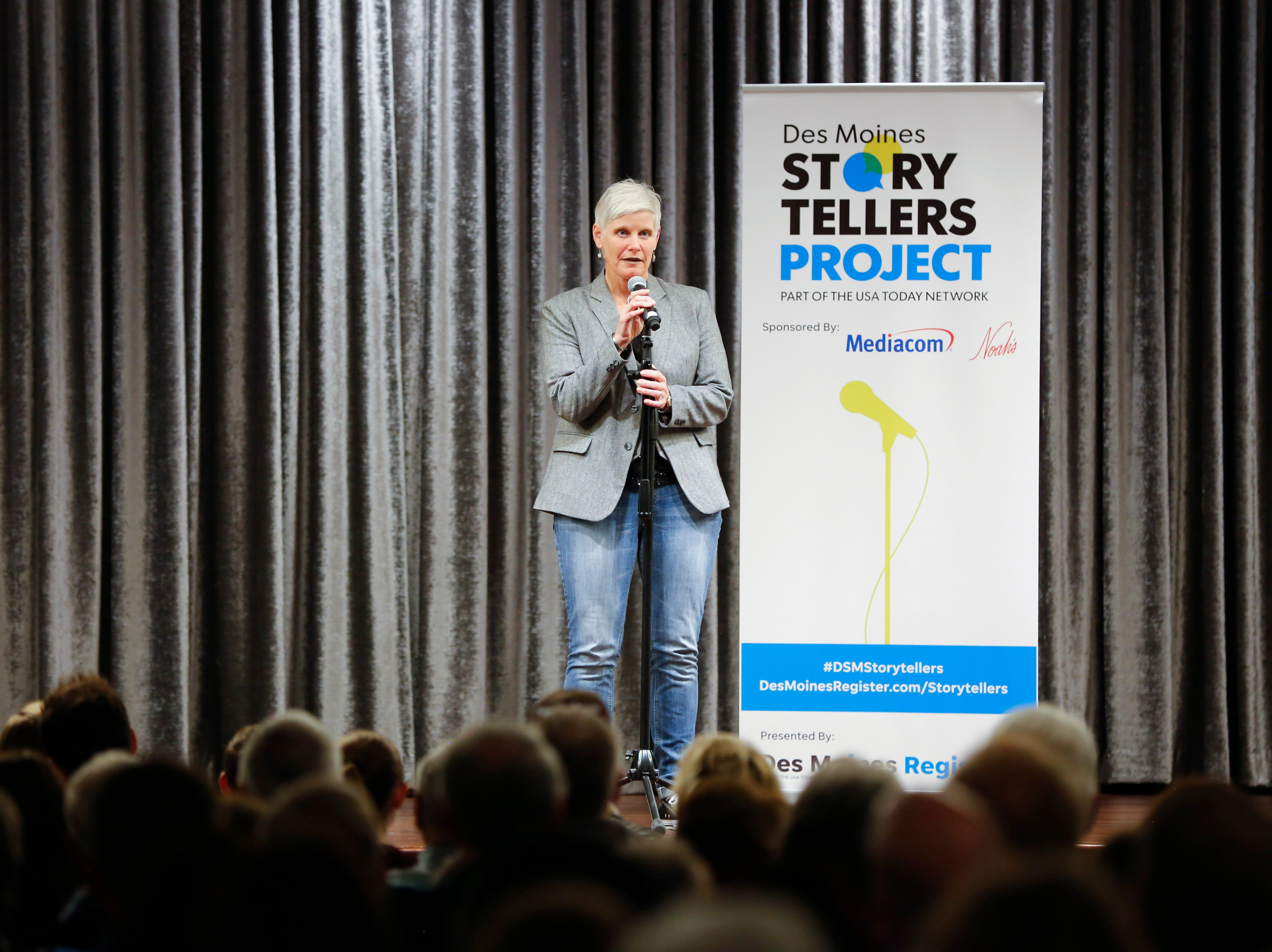 "Jodi Marti speaks at the Des Moines Storytellers' ""War Stories: Battles on the frontline and back home"" at the Tea Room Thursday, Dec. 6, 2018."