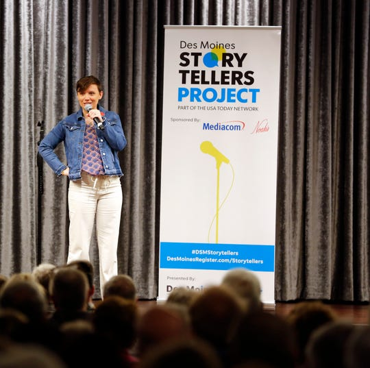 """Sara Maniscalco Robinson speaks at the Des Moines Storytellers' """"War Stories: Battles on the frontline and back home"""" at the Tea Room Thursday, Dec. 6, 2018."""