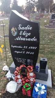 Sadie Alvarado's grave. She died Aug. 5, 2018.