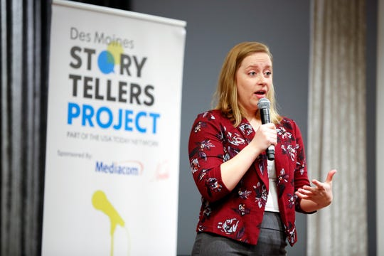 "Miranda Pleggenkuhle speaks at the Des Moines Storytellers' ""War Stories: Battles on the frontline and back home"" at the Tea Room in Des Moines on Thursday, Dec. 6, 2018."