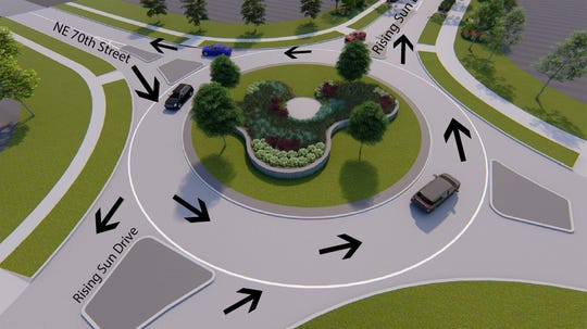 A new roundabout at the intersection of Northeast 70th Street and Rising Sun Drive in Pleasant Hill, opened this month. It is one of several roundabouts that have sprung up around the metro in recent years.