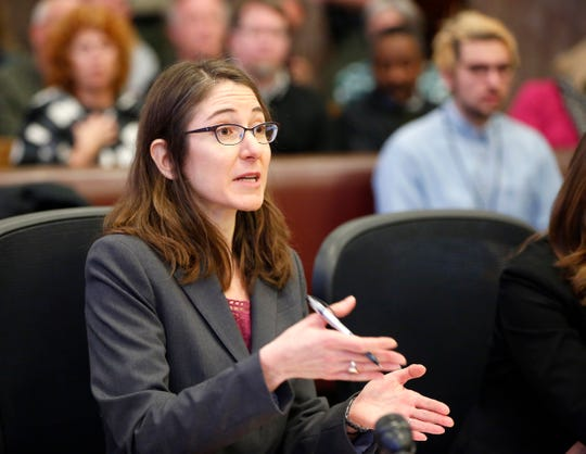 Alice Clapman, a lawyer for Planned Parenthood argues for Judge Michael Huppert to declare Iowa's fetal heartbeat law unconstitutional during hearing in state court Friday, Dec. 7, 2018.