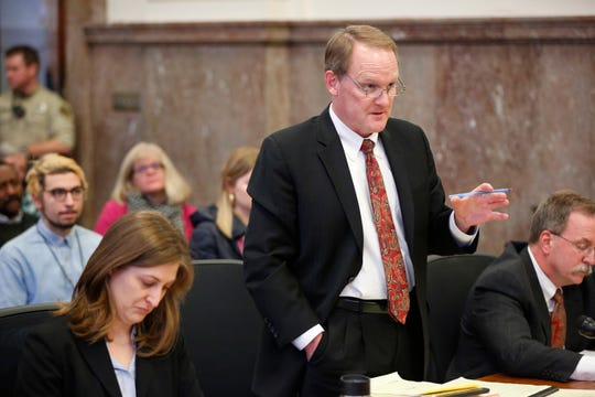 Martin Cannon, a lawyer for the Thomas More Society, represents the state of Iowa during arguments in a legal challenge to Iowa's fetal heartbeat law in state court Friday, Dec. 7, 2018.