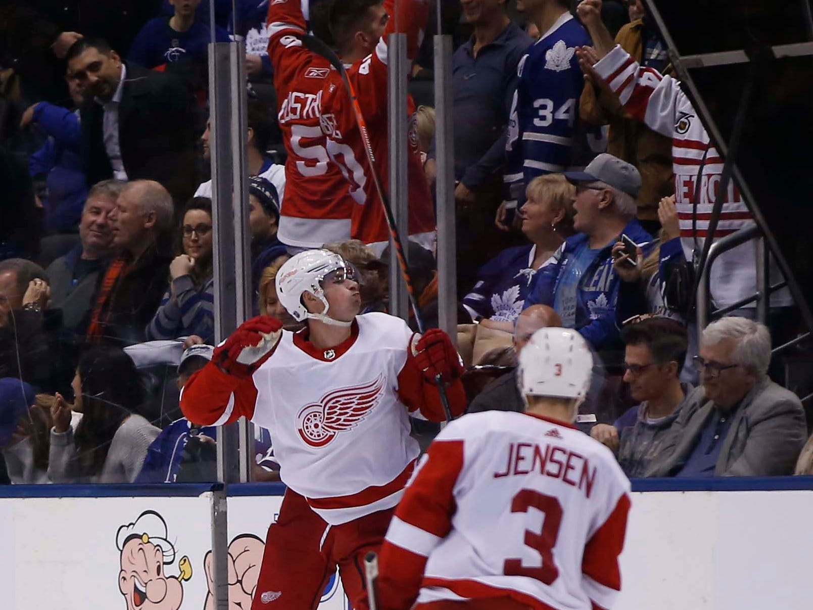 Detroit Red Wings forward Dylan Larkin celebrates his winning goal against the Toronto Maple Leafs at Scotiabank Arena, Thursday, Dec. 6, 2018.