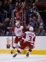 The Detroit Red Wings were gratified after beating the Maple Leafs, 5-4, in OT. Filmed Dec. 6, 2018 in Toronto.