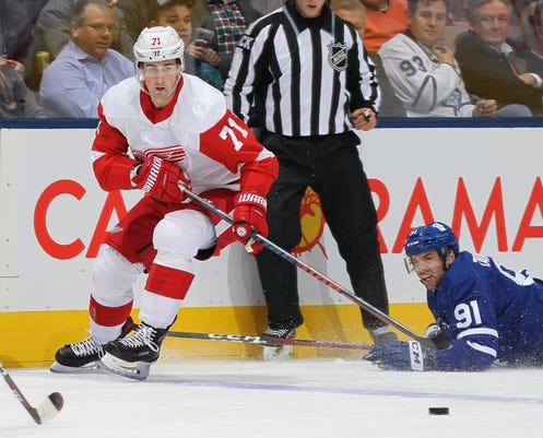 Detroit Red Wings  Dylan Larkin skates against John Tavares of the Toronto  Maple Leafs at Scotiabank Arena on Dec. 6 e53653749