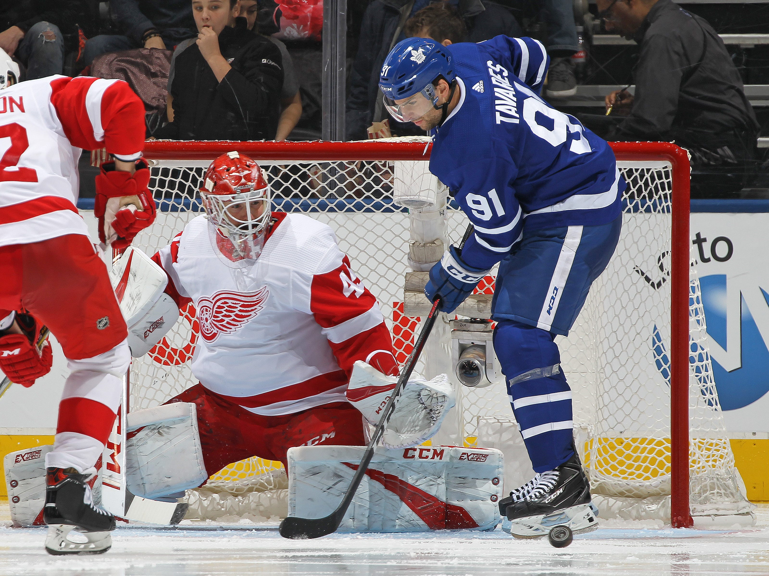 Detroit Red Wings goalie Jonathan Bernier stops John Tavares of the Toronto Maple Leafs at Scotiabank Arena on Dec. 6, 2018 in Toronto, Ontario, Canada.