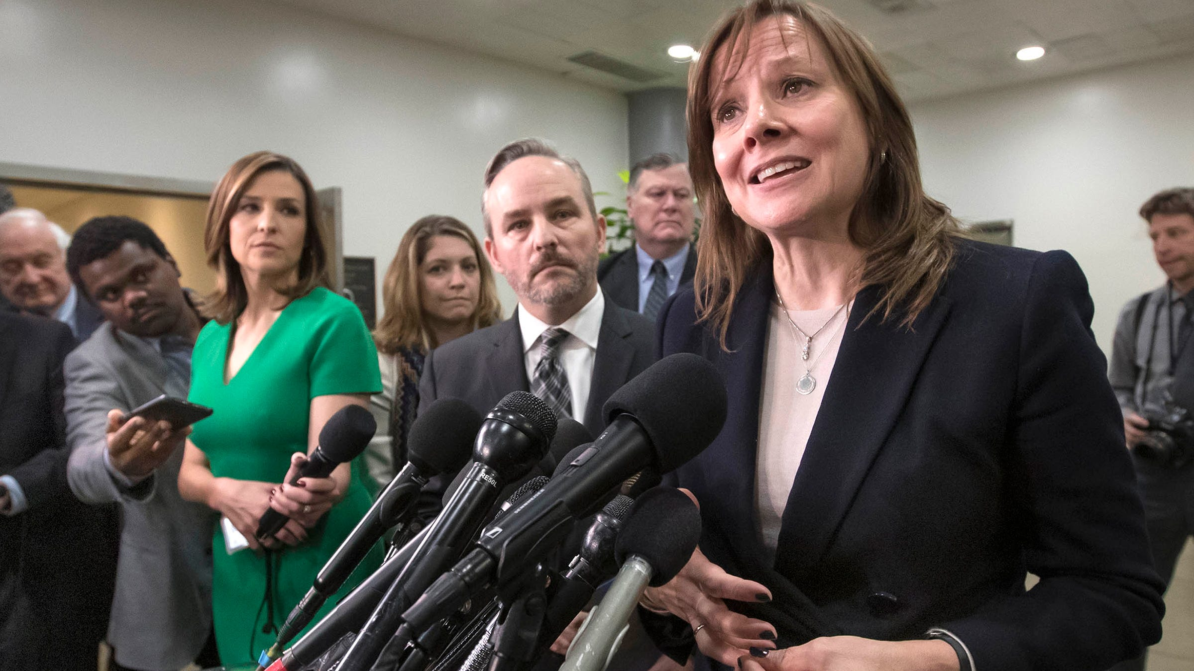 General Motors CEO Mary Barra speaks to reporters after meeting with the Michigan congressional delegation to discuss plans for the restructuring by the automaker, on Capitol Hill in Washington, Thursday, Dec. 6, 2018.
