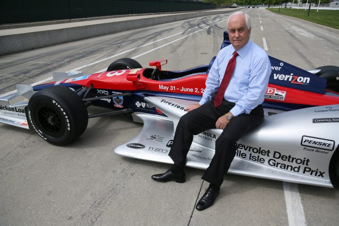 Roger Penske on the Grand Prix track Belle Isle in Detroit in May 2013.