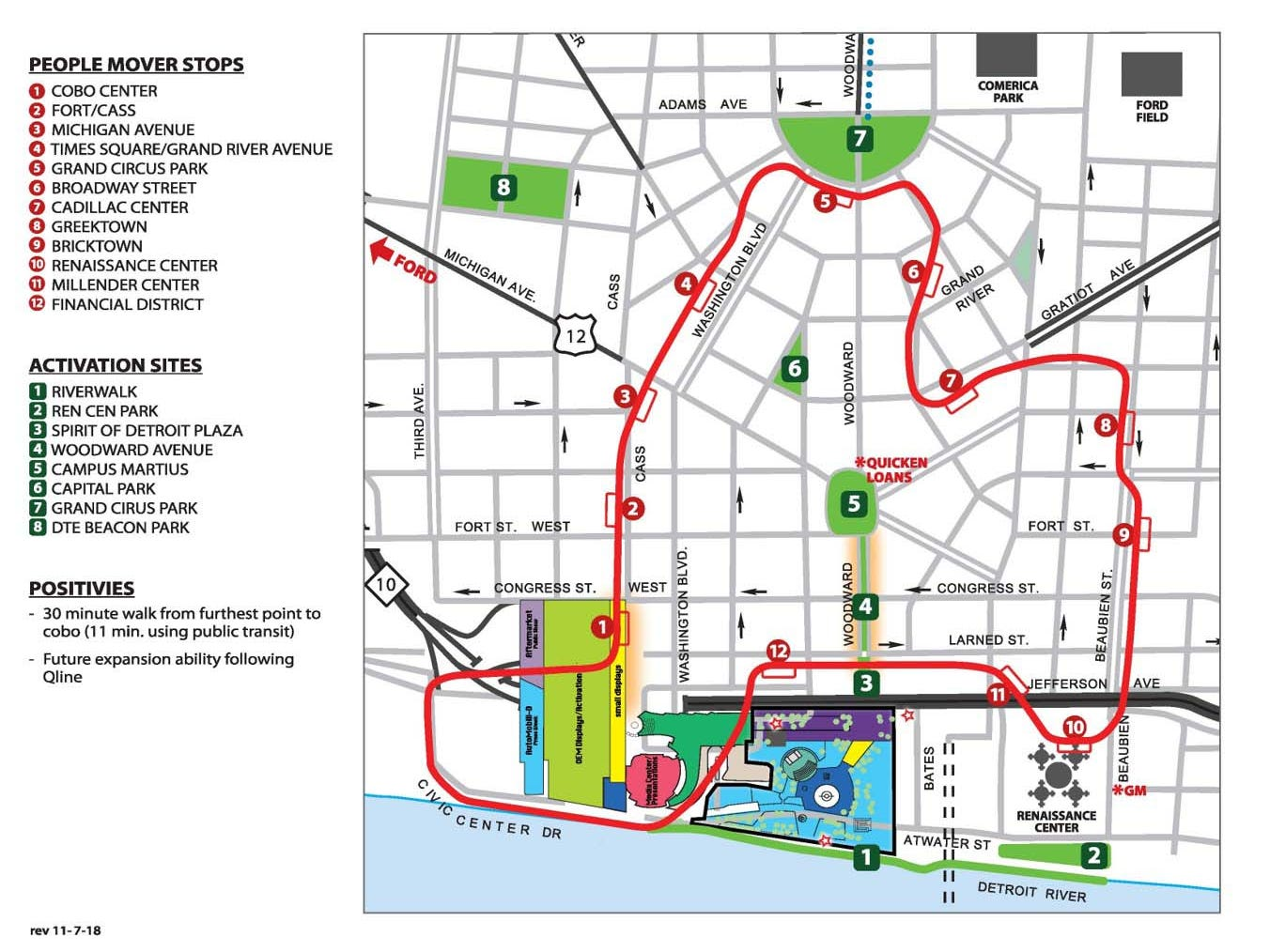 A map of tentative plan for the June, 2020 Detroit Auto Show.