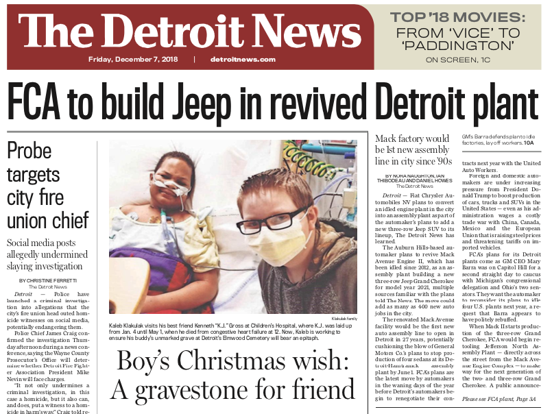 The front page of The Detroit News on Friday, December 6, 2018.
