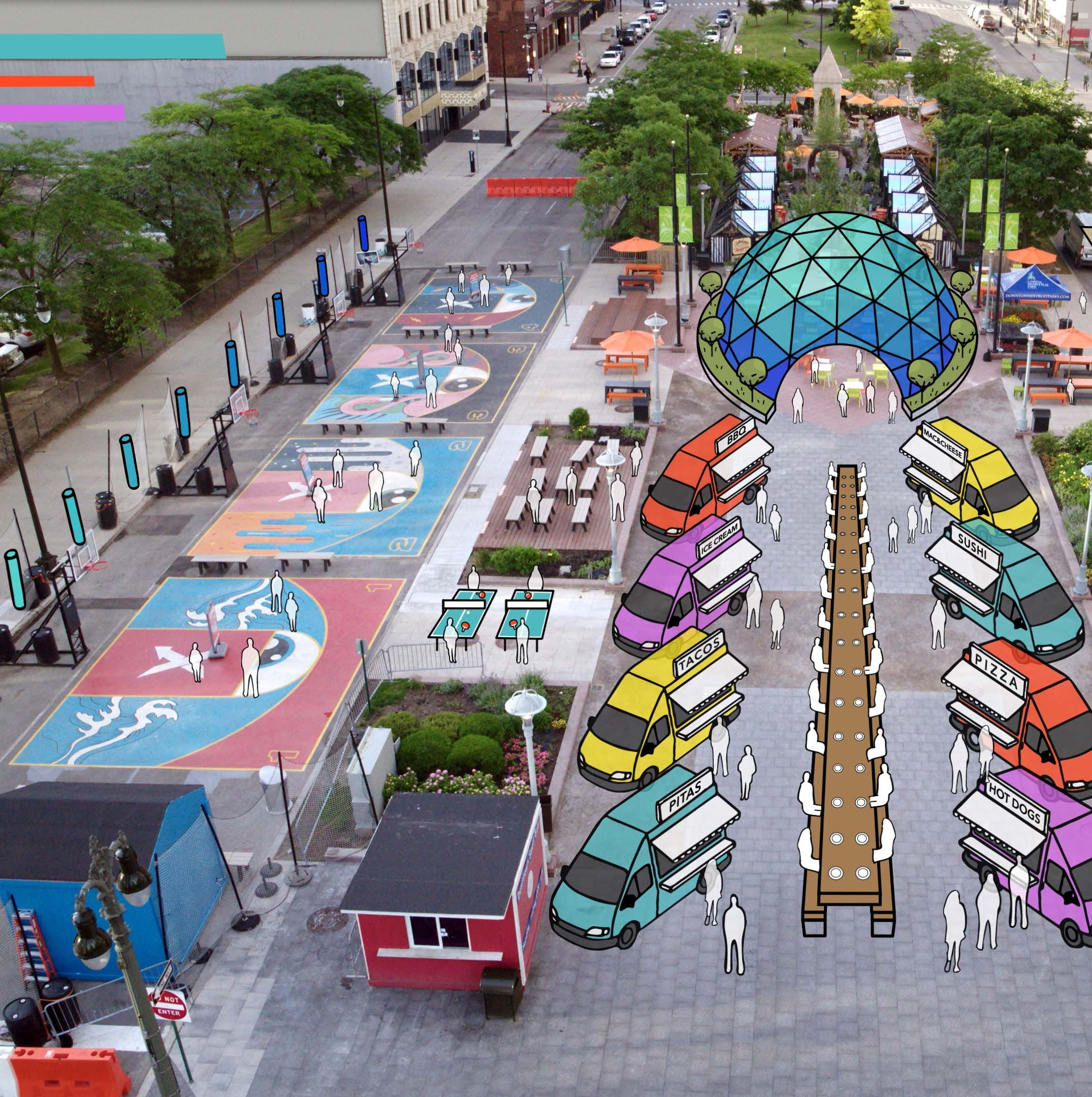 The 2020 Detroit auto show will sprawl into Campus Martius, where showgoers can enjoy Detroit's resurgent social and restaurant scene.