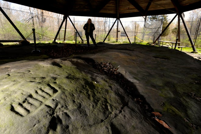 A petroglyph, possibly representing a thunderbird,  is visible in the foreground at Sanilac Petroglyphs Historic State Park near Cass City.