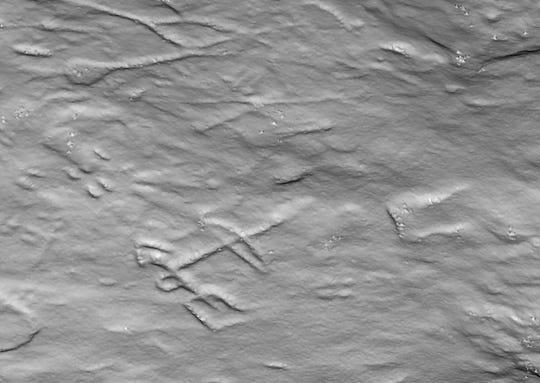 A LiDAR image detailing a small portion of the Sanilac Petroglyphs.