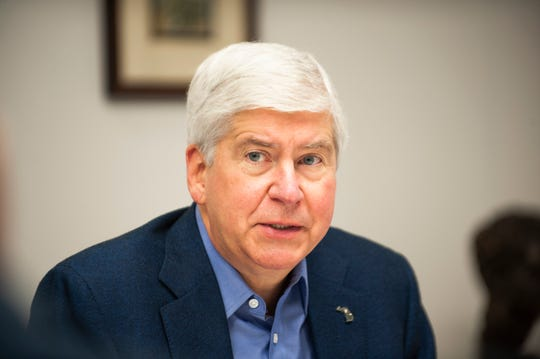 Michigan Gov. Rick Snyder gives an exit interview to editorial board and reporters of The Detroit News in the Tony Snow conference room at the newspaper office in downtown Detroit on Friday, December 7, 2018.