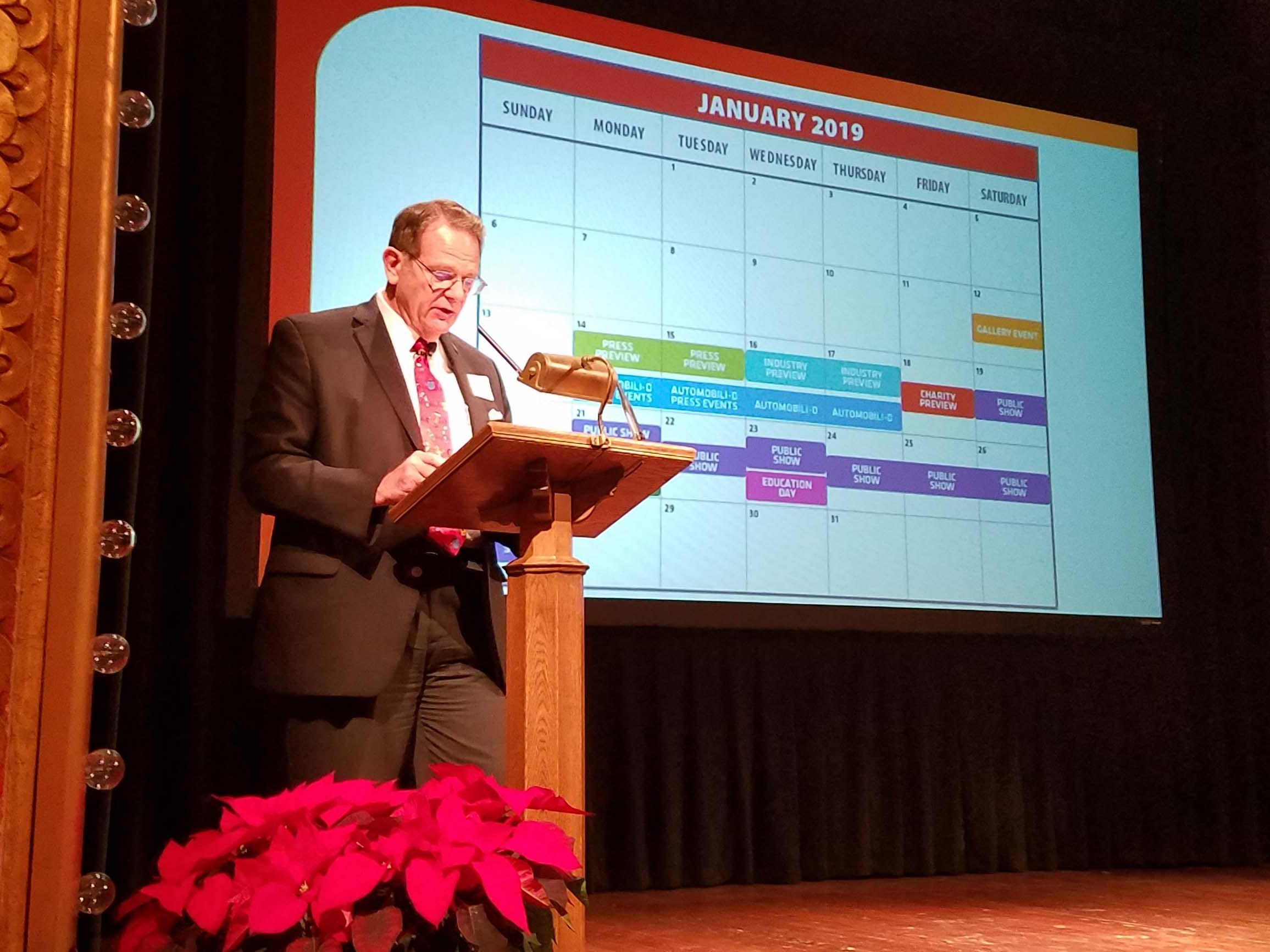 Bill Golling, 2019 chairman of the Detroit auto show, shares the calendar for January's show at the Gem Theater Friday.