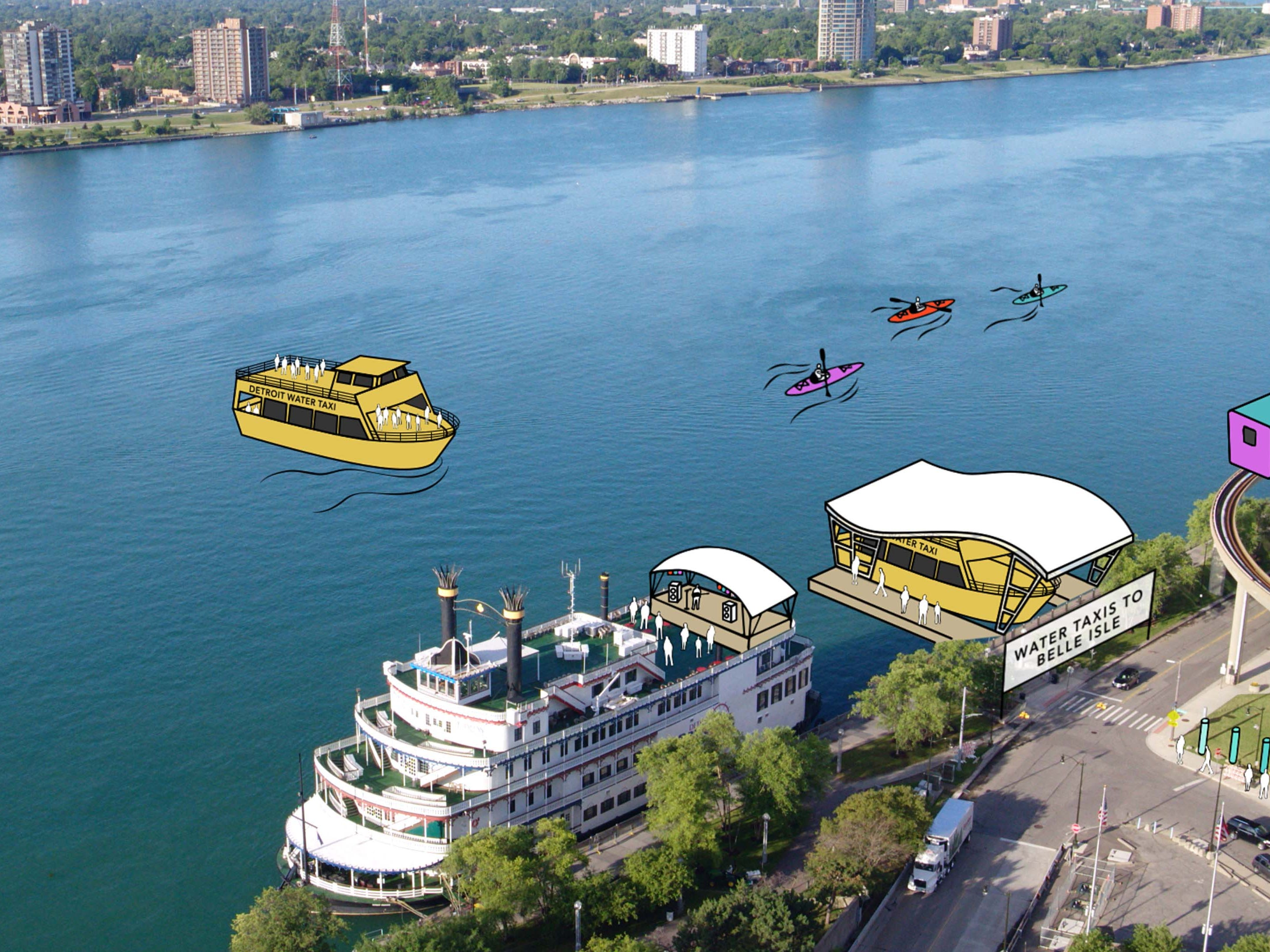 June is for water. An artist's rendition of how the 2020 Detroit Auto Show will expand to the Detroit waterfront.