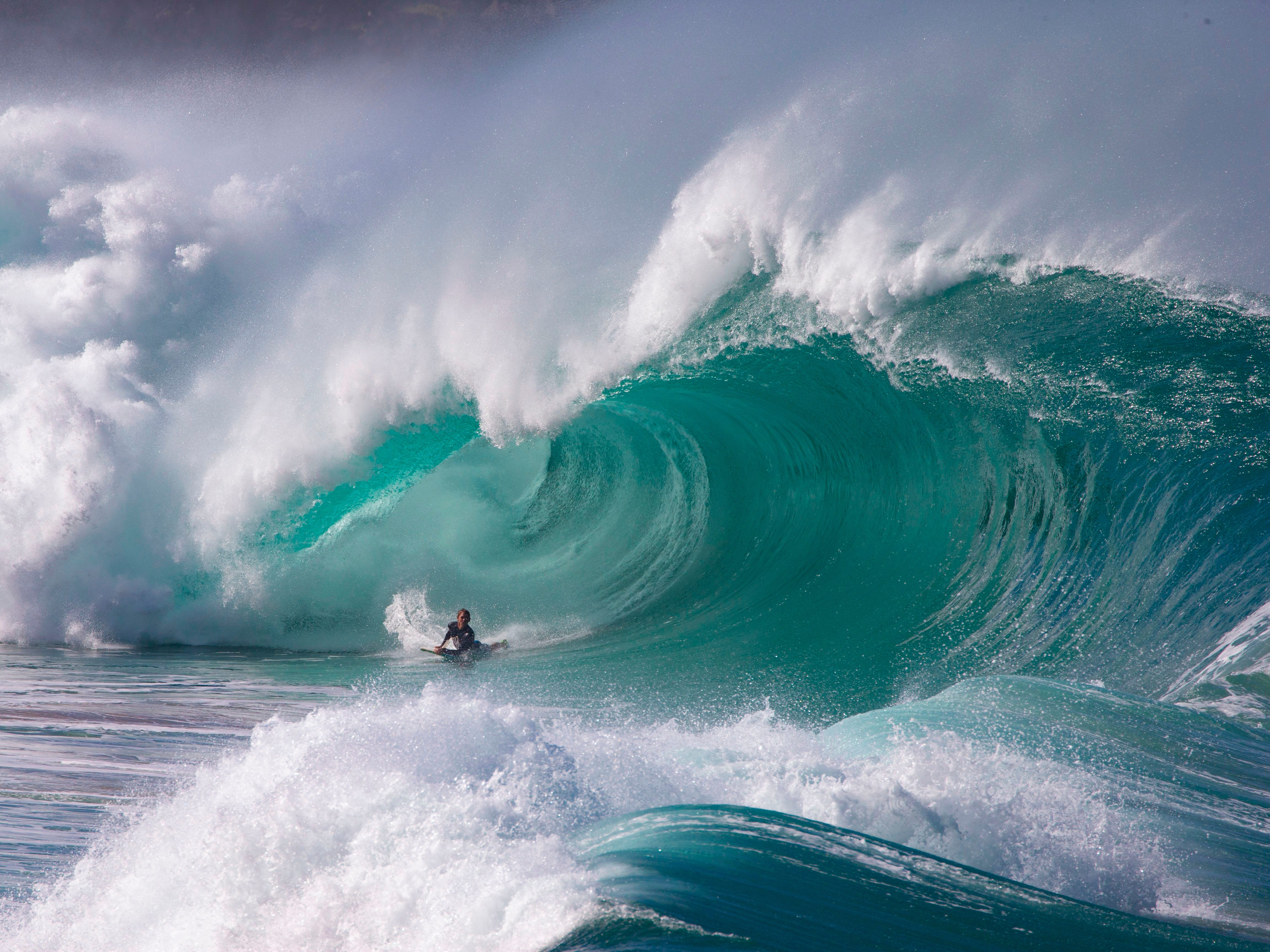 Pro surfer Kalani Chapman rides the Banzai Pipeline ahead of the Billabong Pipe Masters on the north shore of Oahu in Hawaii on Dec. 6, 2018.
