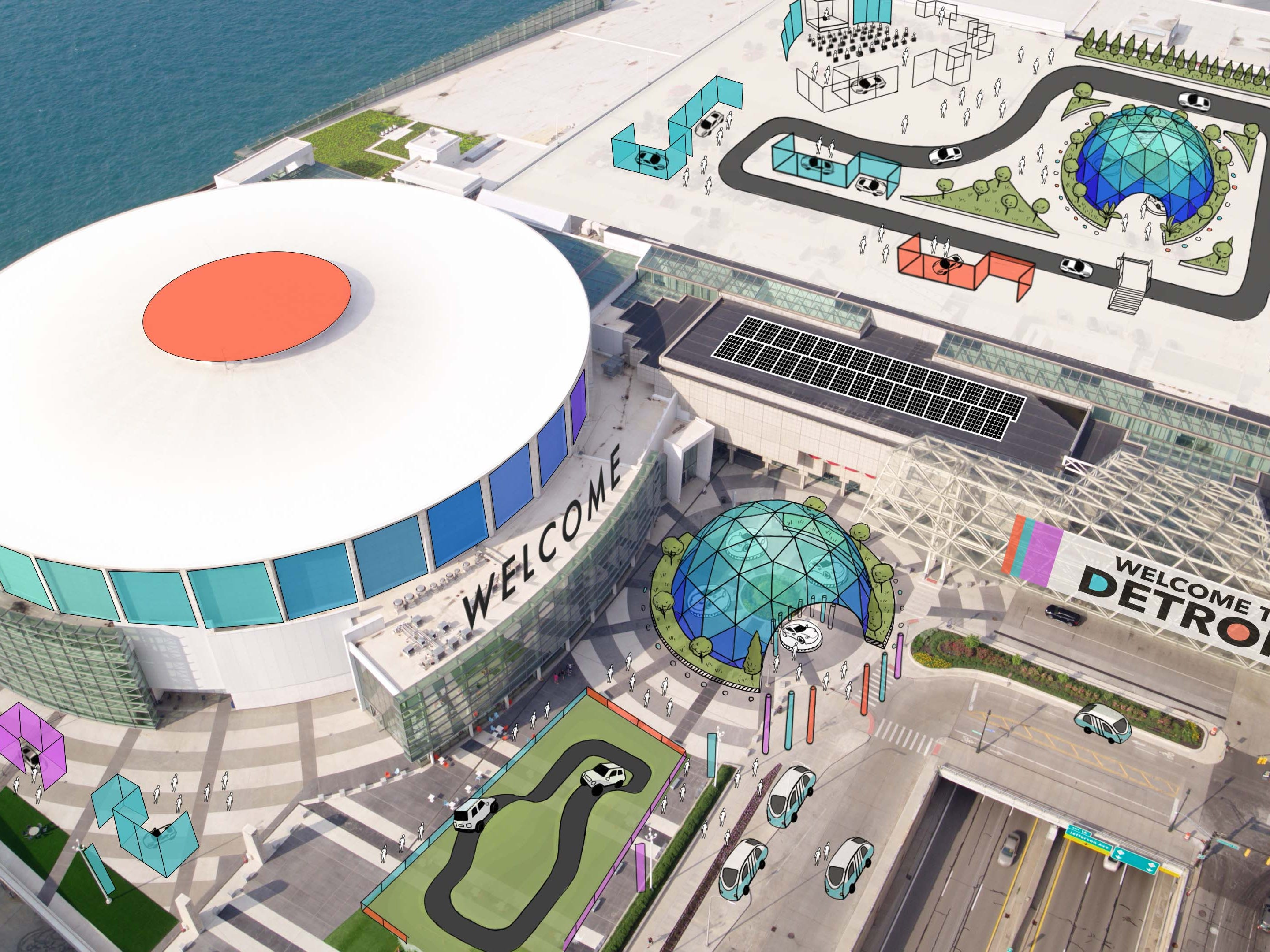 Traditionally used for parking, the Cobo roof may become a venue for entertainment and other displays at the June, 2020 Detroit Auto Show.