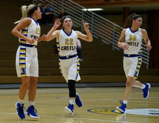 Castle's Hannah Hood (22) reacts to making a successful three-pointer as she runs down the court with her teammates Paige Hopkins (25) and Jessica Nunge (30) during the second quarter against the Mater Dei Wildcats at Castle High School in Newburgh, Ind., Thursday, Dec. 6, 2018. The Knights defeated the Wildcats, 71-35.