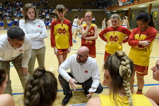 Mater Dei Head Coach Chad Breeden, center, talks to his team before the start of the game against the Castle Knights in Newburgh, Ind., Thursday, Dec. 6, 2018. The Knights defeated the Wildcats, 71-35.
