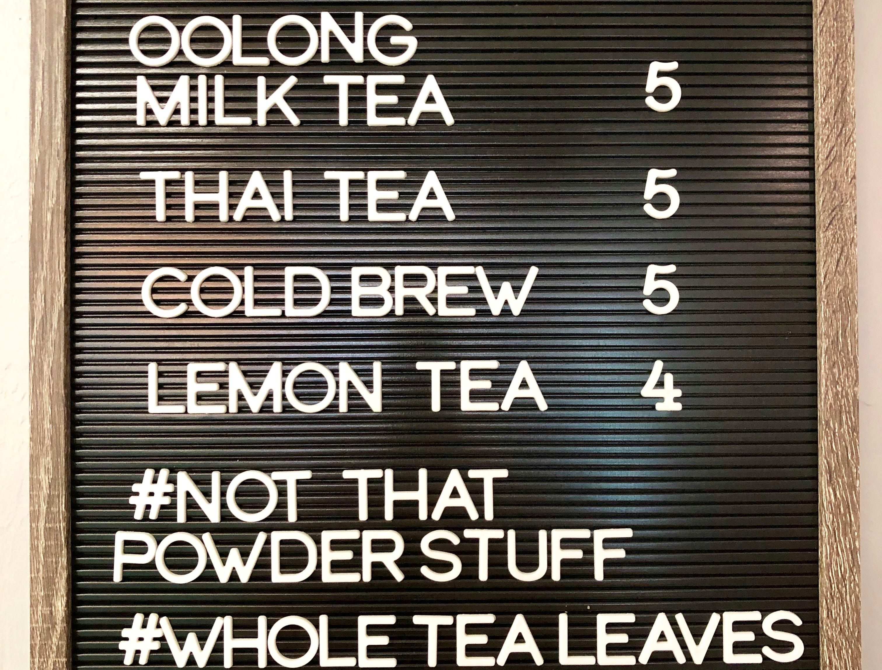 The beverage menu at PokeBowl Cafe. The Fort Myers restaurant brews its boba teas in house.