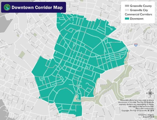 Boundaries defined in the city of Greenville's downtown master plan.
