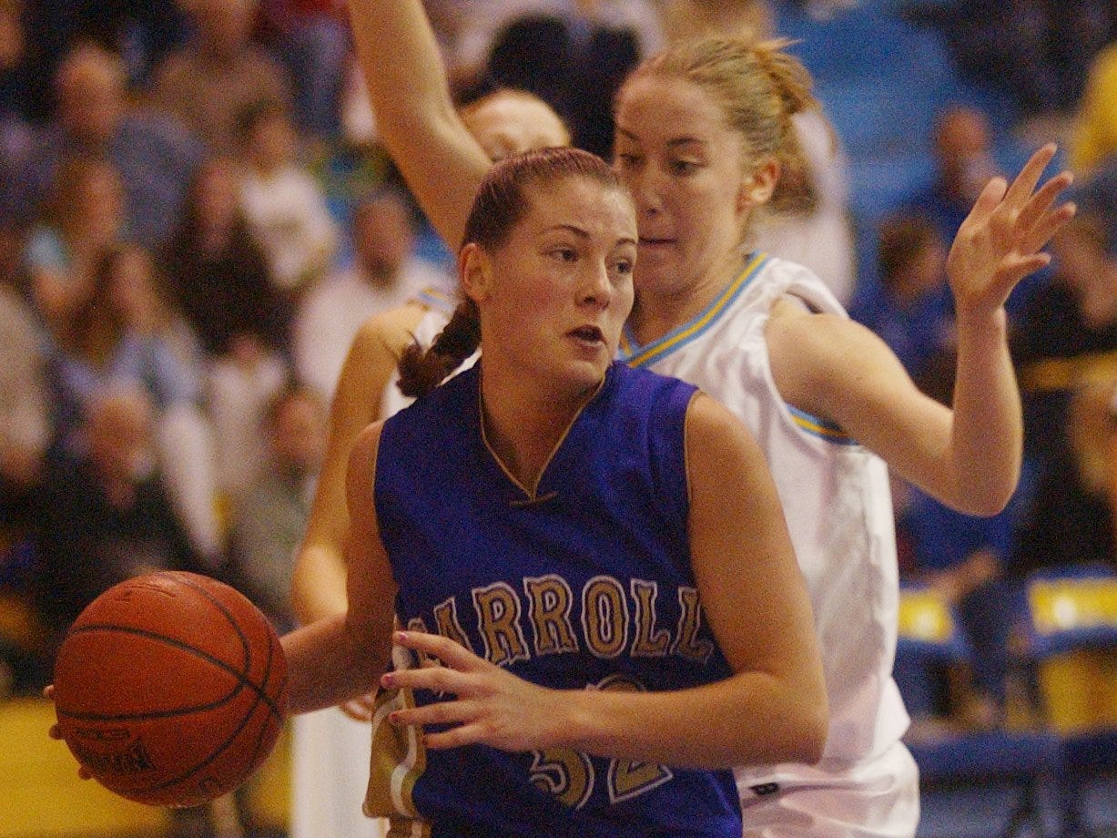 Carroll College's Tara Zoanni, a former Conrad High star, drives to the basket during Frontier Conference action in 2002.