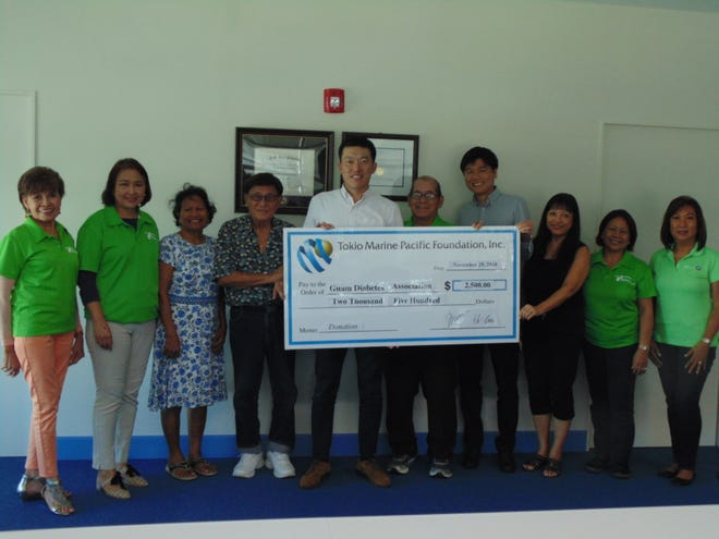 Tokio Marine Pacific presented its annual donation of $2,500 to the Guam Diabetes Association to help fund its diabetes programs. Pictured from left: Winnie Butler, Del Agahan, Lisa Kenworthy, Joe Taitague, Masaaki Morimoto, Scott Duenas, Hisashi Ito, Clara Peterson, Nilda Antolin and Linda Simon.