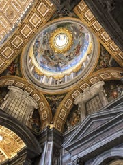 No one, but no one, does ceilings like Italians. Here is a modest example, from Basilica Sancti Petri (St. Peter's Basilica) in the Vatican.