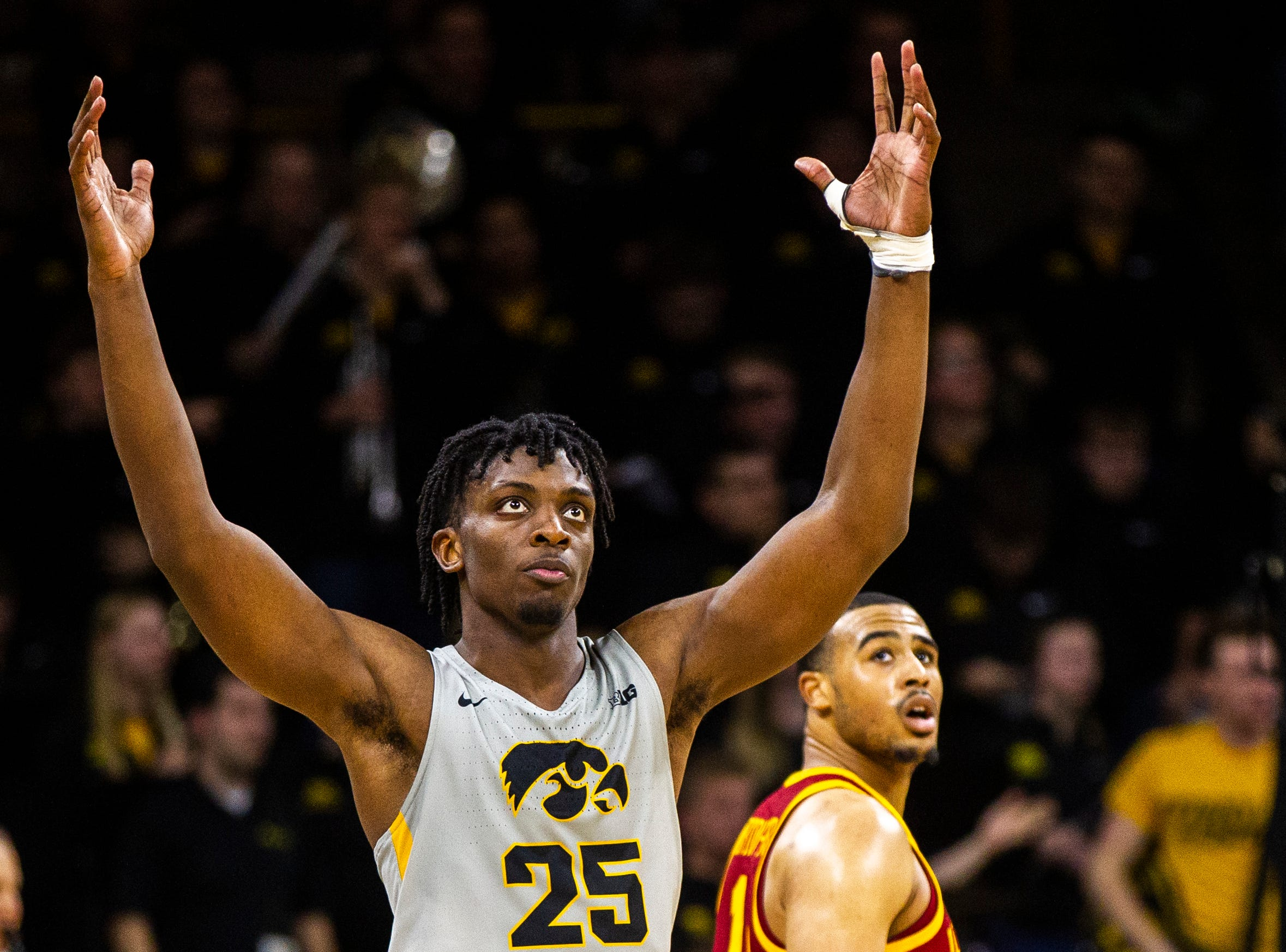 Iowa forward Tyler Cook (25) reacts to a call during a NCAA Cy-Hawk series men's basketball game on Thursday, Dec. 6, 2018, at Carver-Hawkeye Arena in Iowa City.