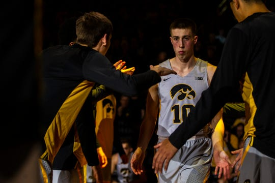 Iowa guard Joe Wieskamp (10) is introduced during a NCAA Cy-Hawk series men's basketball game on Thursday, Dec. 6, 2018, at Carver-Hawkeye Arena in Iowa City.