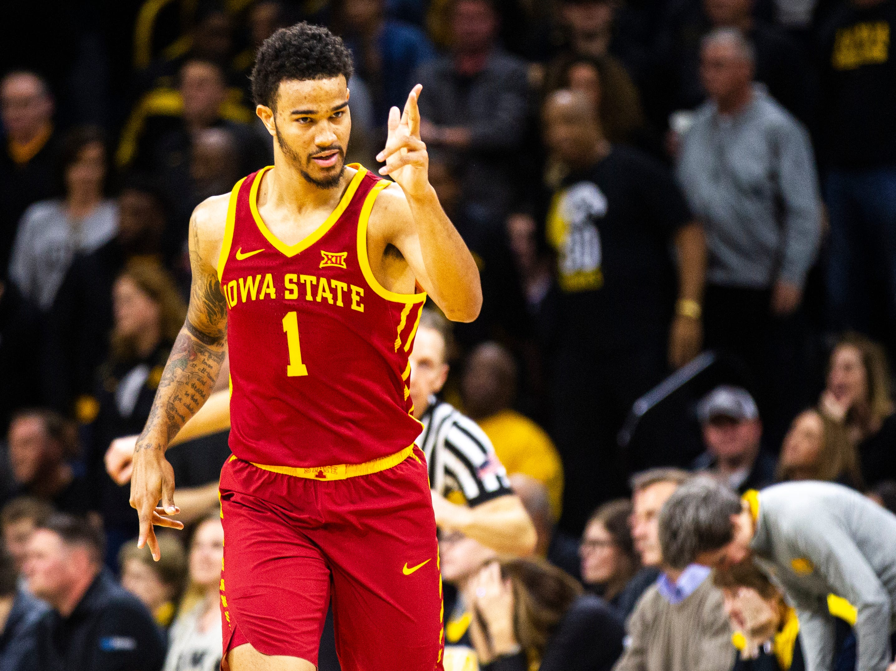 Iowa State guard Nick Weiler-Babb (1) celebrates after making a 3-point basket during a NCAA Cy-Hawk series men's basketball game on Thursday, Dec. 6, 2018, at Carver-Hawkeye Arena in Iowa City.