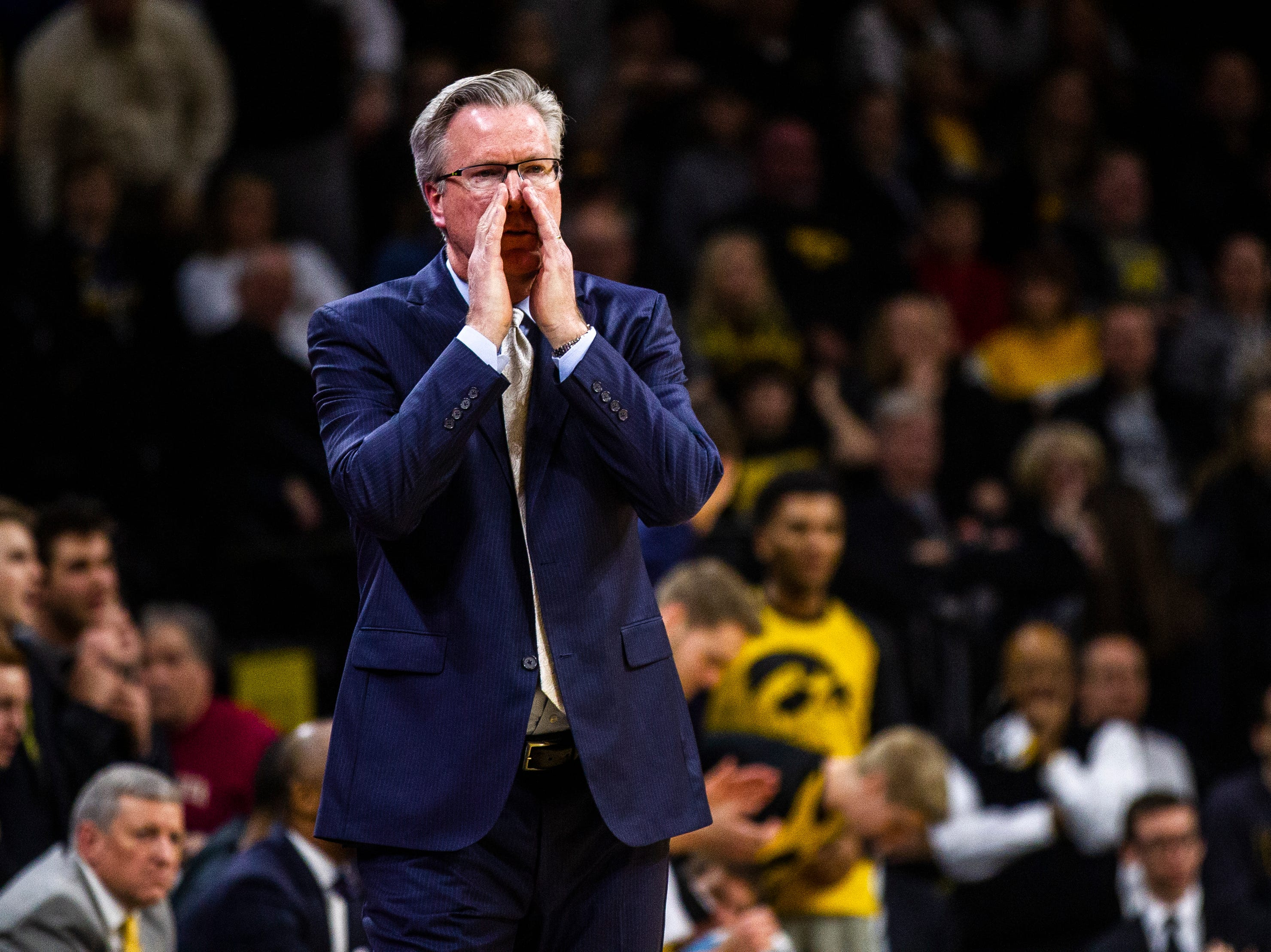 Iowa men's basketball head coach Fran McCaffery calls out to players during a NCAA Cy-Hawk series men's basketball game on Thursday, Dec. 6, 2018, at Carver-Hawkeye Arena in Iowa City.