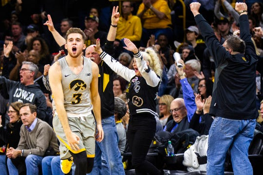 Iowa guard Jordan Bohannon (3) reacts during a NCAA Cy-Hawk series men's basketball game on Thursday, Dec. 6, 2018, at Carver-Hawkeye Arena in Iowa City.