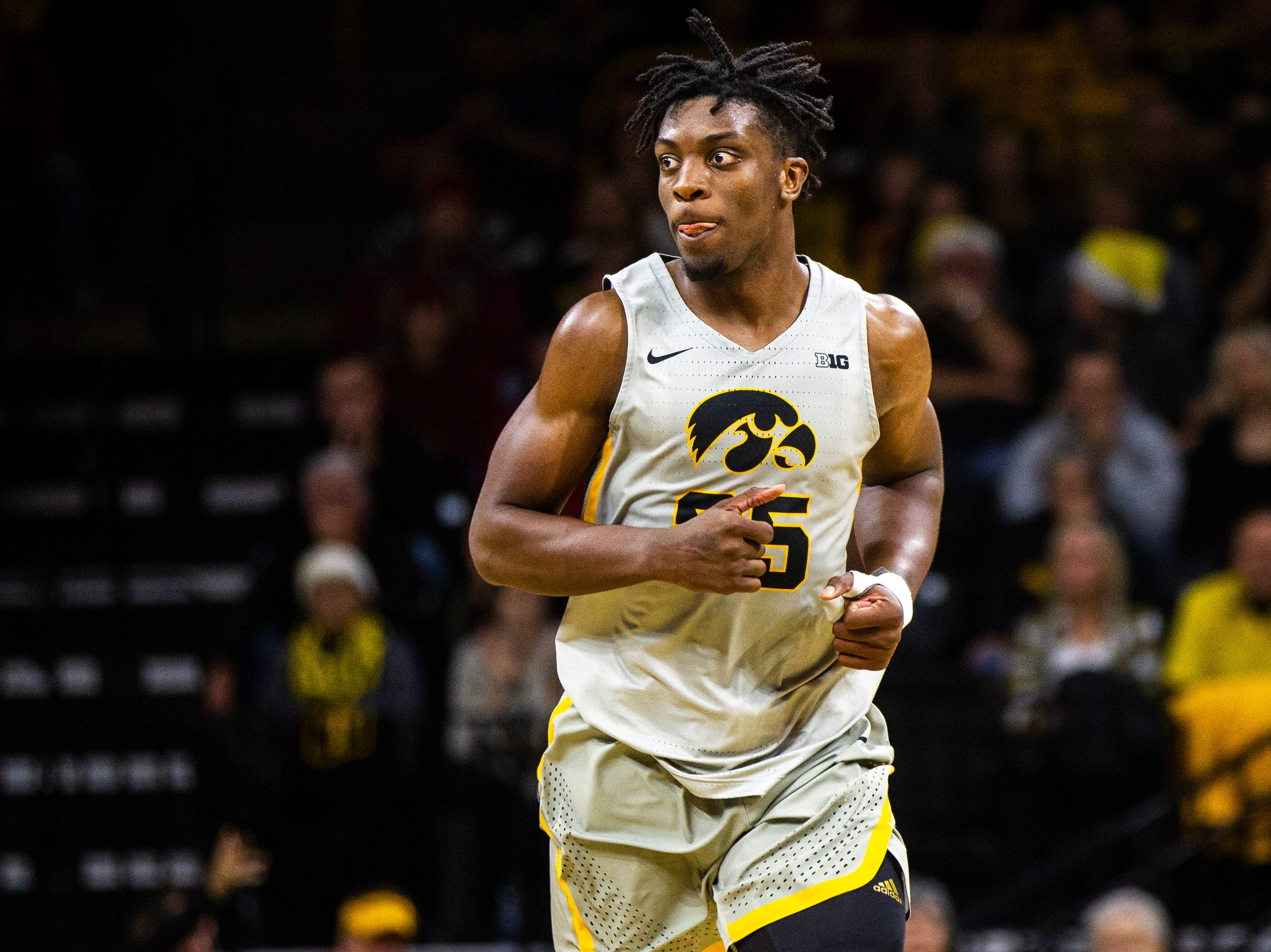 Iowa forward Tyler Cook (25) runs up the court after scoring during a NCAA Cy-Hawk series men's basketball game on Thursday, Dec. 6, 2018, at Carver-Hawkeye Arena in Iowa City.