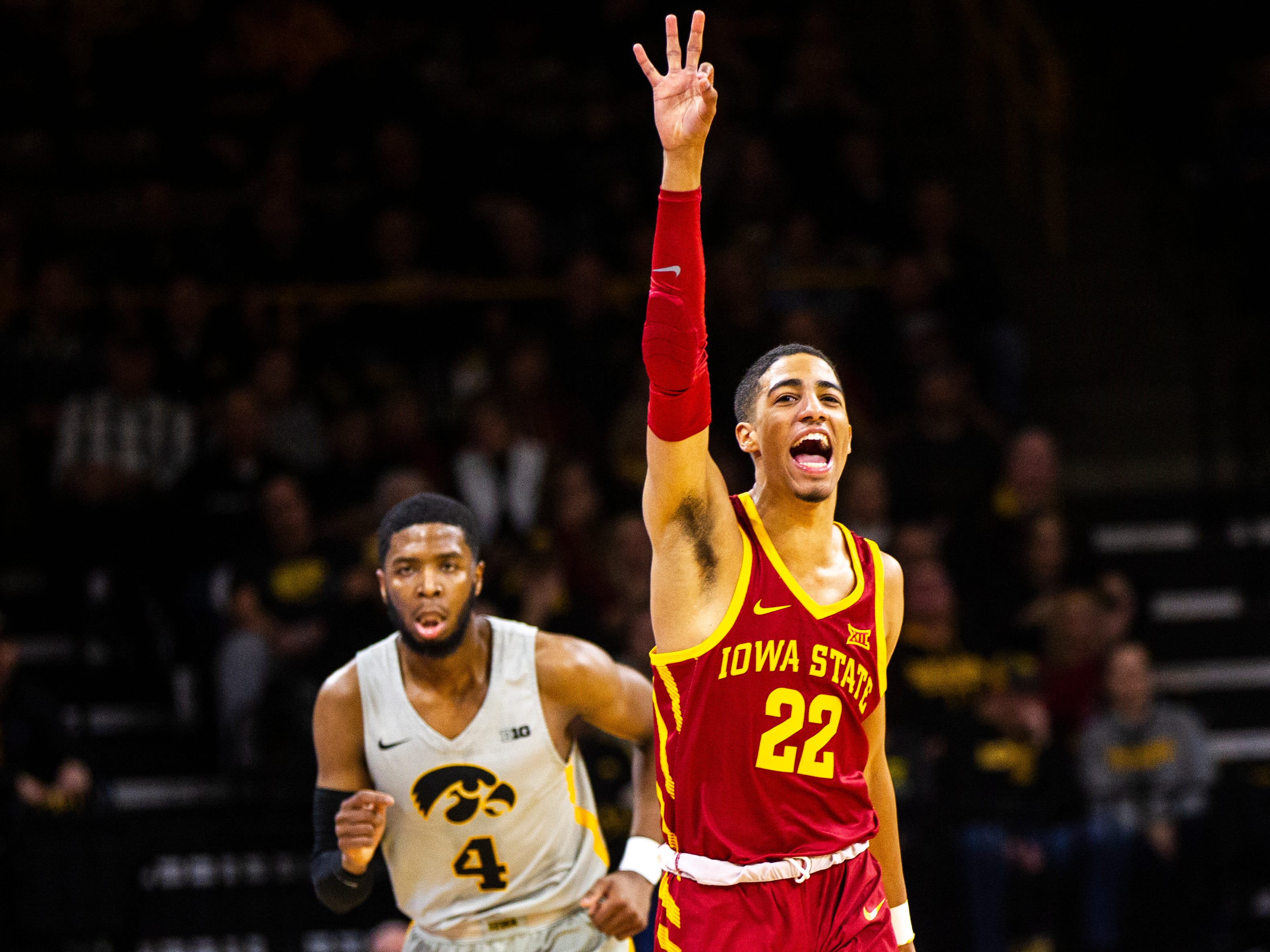 Iowa State guard Tyrese Haliburton (22) celebrates after making a 3-point basket during a NCAA Cy-Hawk series men's basketball game on Thursday, Dec. 6, 2018, at Carver-Hawkeye Arena in Iowa City.
