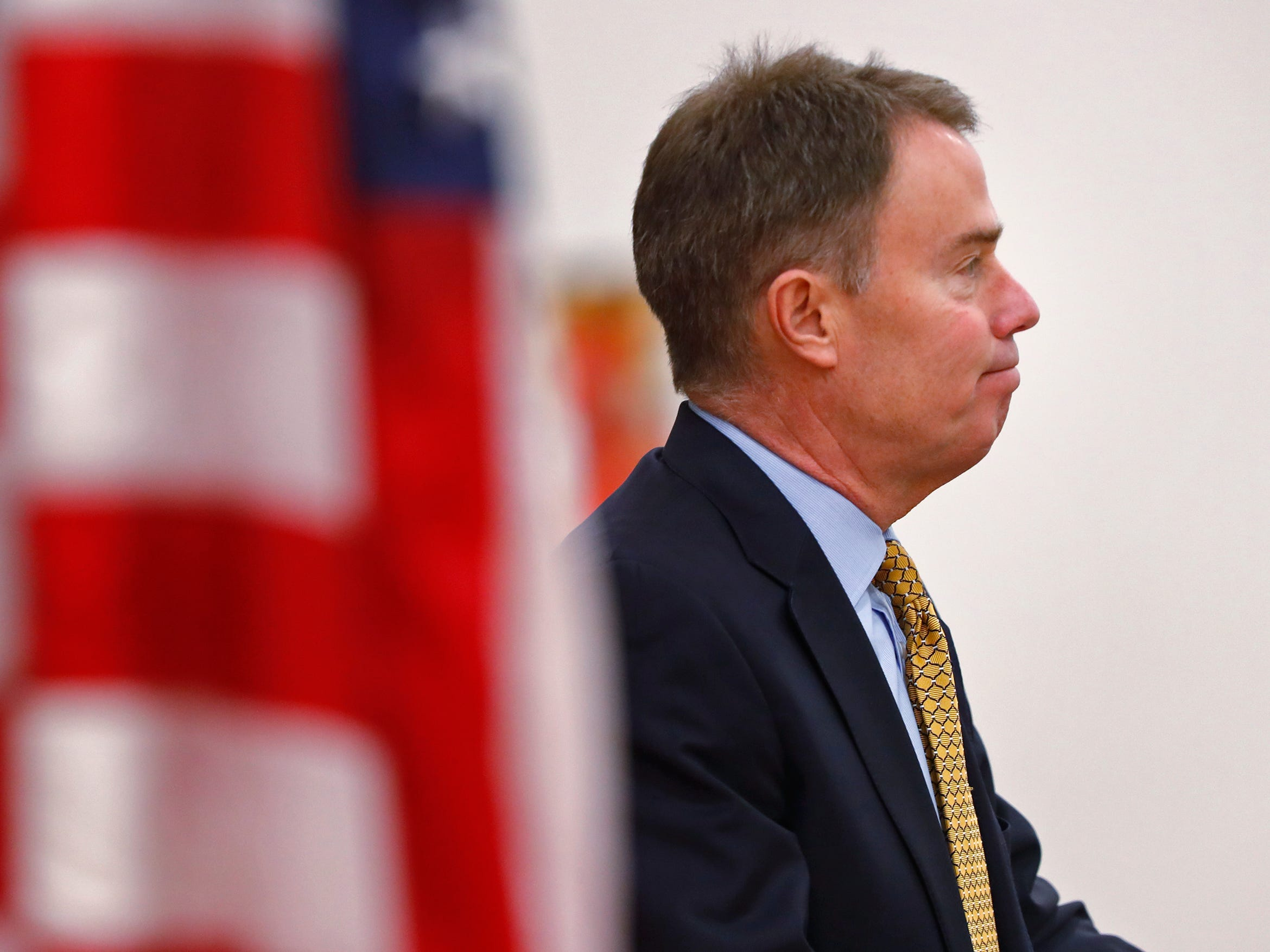 Mayor Joe Hogsett gives remarks during the Pearl Harbor Day Remembrance at Riverside High School, Friday, Dec. 7, 2018.  The former Heslar Naval Armory used to host the event to remember those who died and to honor those who survived in the Dec. 7, 1941 Japanese attack on Pearl Harbor which plunged the United States into World War II.