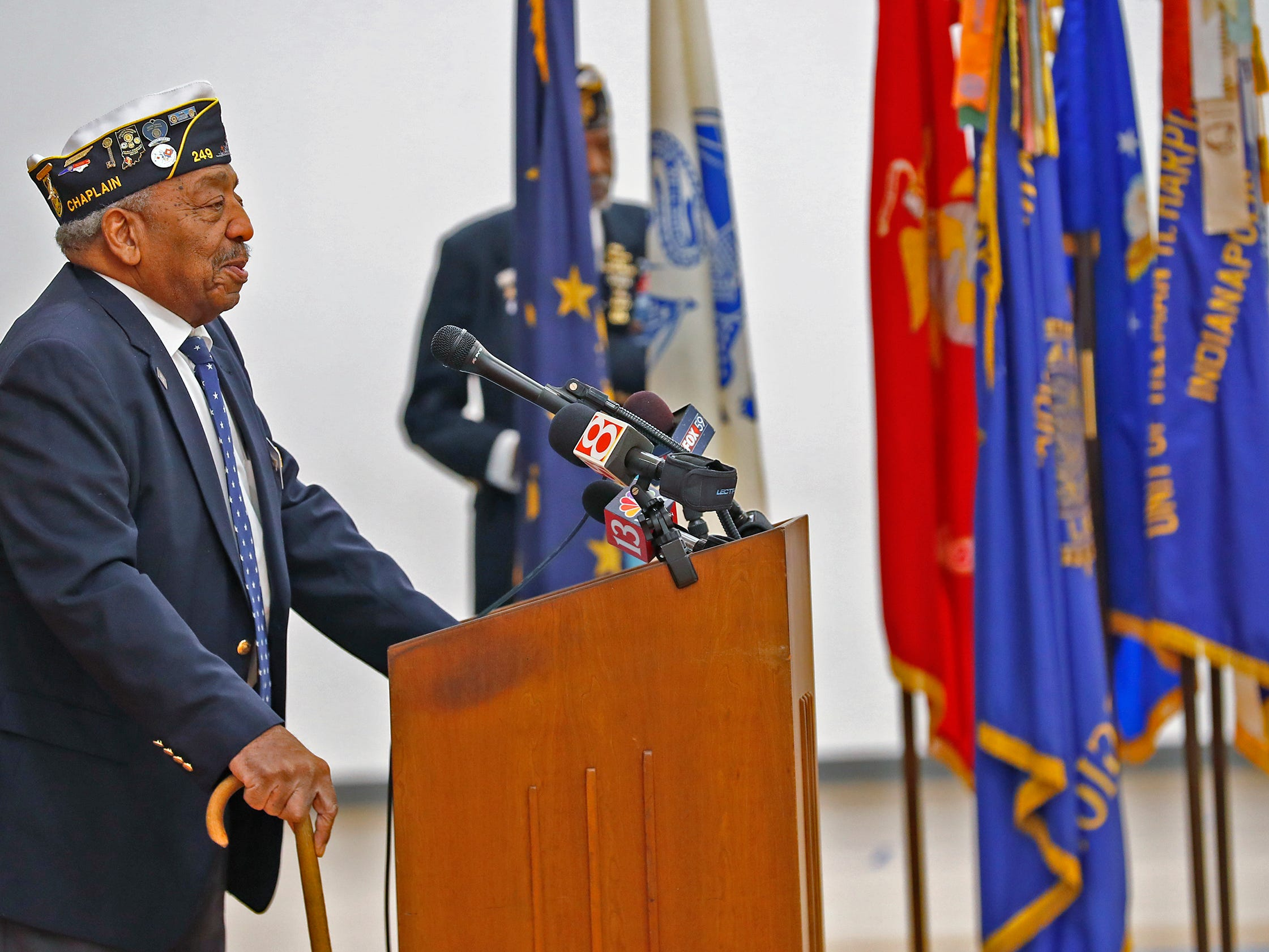 Chaplain of Indiana's 11th District of the American Legion Edward Harris Jr. speaks during the Pearl Harbor Day Remembrance at Riverside High School, Friday, Dec. 7, 2018.  The former Heslar Naval Armory used to host the event to remember those who died and to honor those who survived in the Dec. 7, 1941 Japanese attack on Pearl Harbor which plunged the United States into World War II.