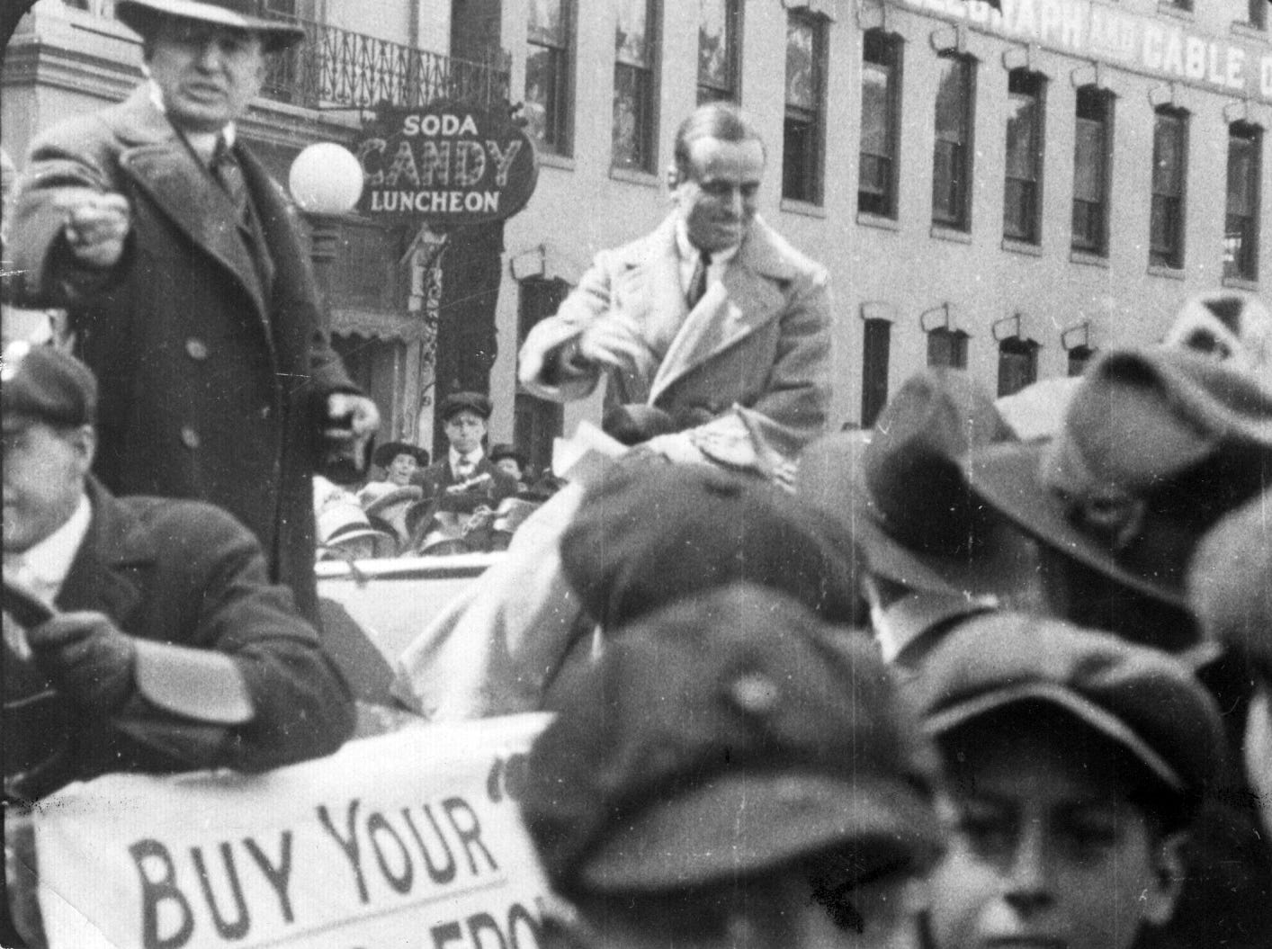 Movie star, Douglas Fairbanks appeared in the Marion County Liberty Loan campaign parade April 13, 1918 and boosted the sale of bonds for the war chest. Fairbanks also wowed the crowd with his gymnastic stunts that made him a swashbuckling matinee idol.