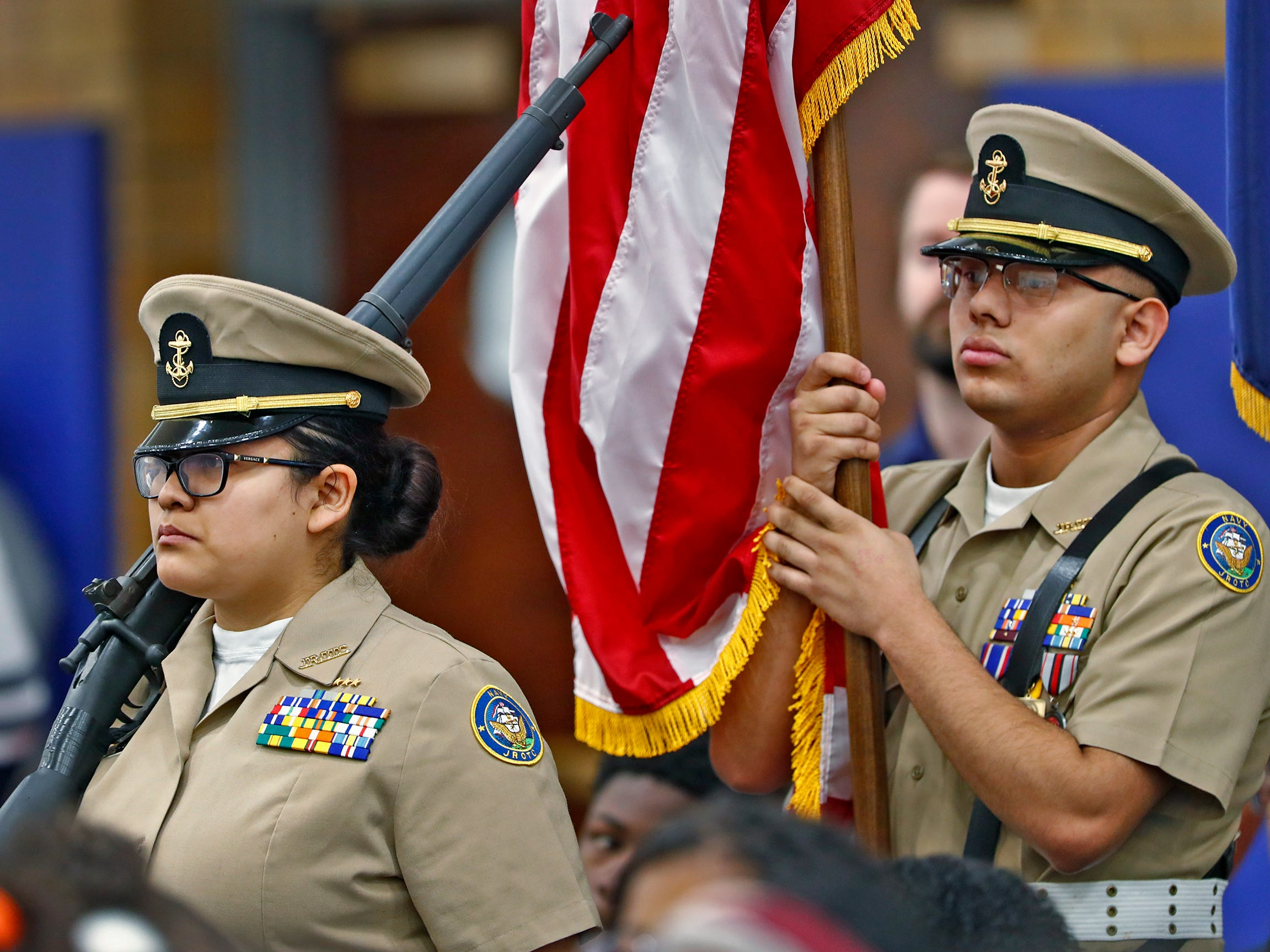 Members of the Pike High School's Junior Reserve Officer Training Corps Color Guard Post the Colors during the Pearl Harbor Day Remembrance at Riverside High School, Friday, Dec. 7, 2018.  The former Heslar Naval Armory used to host the event to remember those who died and to honor those who survived in the Dec. 7, 1941 Japanese attack on Pearl Harbor which plunged the United States into World War II.  The Tillman H. Harpole American Legion Post 249 presented the 20th annual service,
