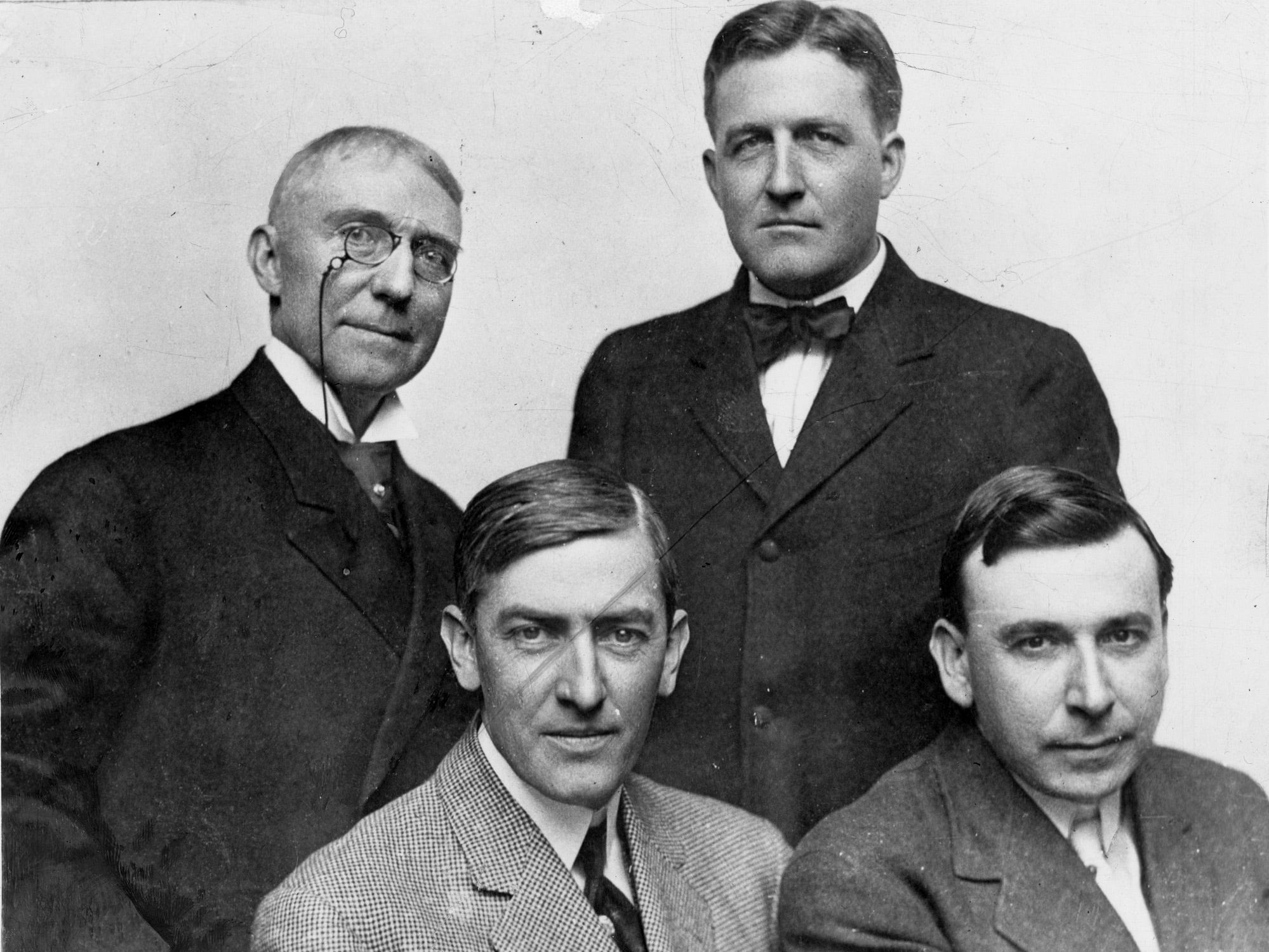 Four famous Hoosier writers: Front, left is George Ade of Kentland; front right is Booth Tarkington of Indianapolis. Back row left if James Whitcomb Riley and back right is Meredith Nicholson (former Indianapolis News reporter). Staff photo, 1910.