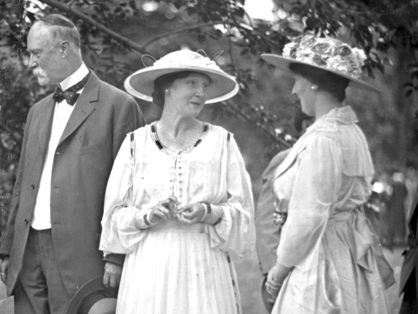Charles Warren Fairbanks (left) stood in a receiving line along with his daughter, Mrs. John W. Timmons (center), and daughter-in-law, Mrs. Warren Fairbanks, on May 15, 1916 as they hosted a reception for 1,000 visitors. The occasion at the Fairbanks home at 1522 N. Meridian St. was the National Conference of Charities and Correction.